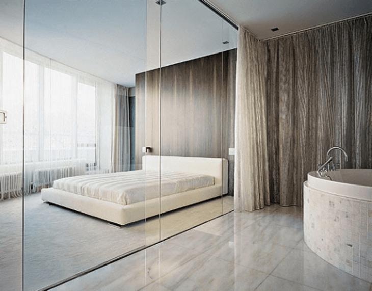 Phòng ngủ sang chảnh thiết kế bằng vách kính cường lực