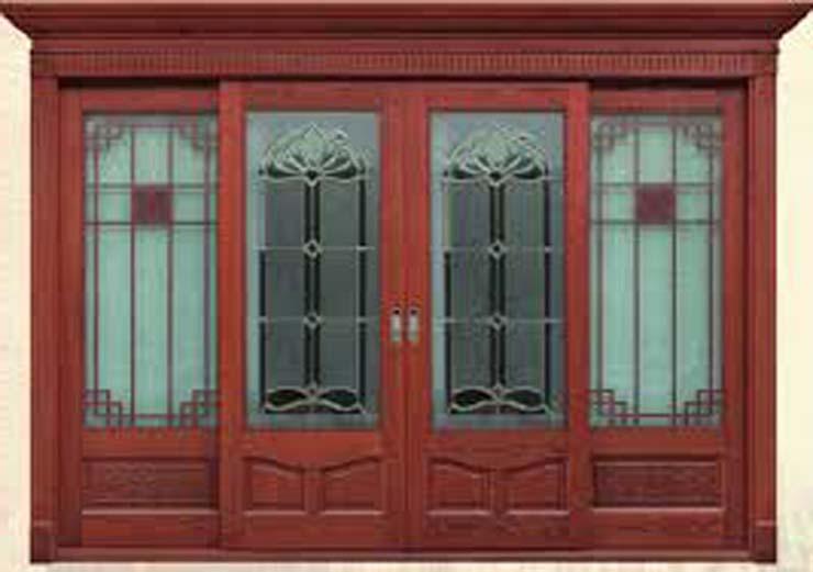 cửa kính cường lực khung gỗ 1