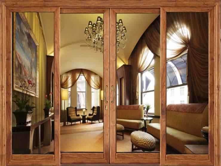 cửa kính cường lực khung gỗ đẹp 3